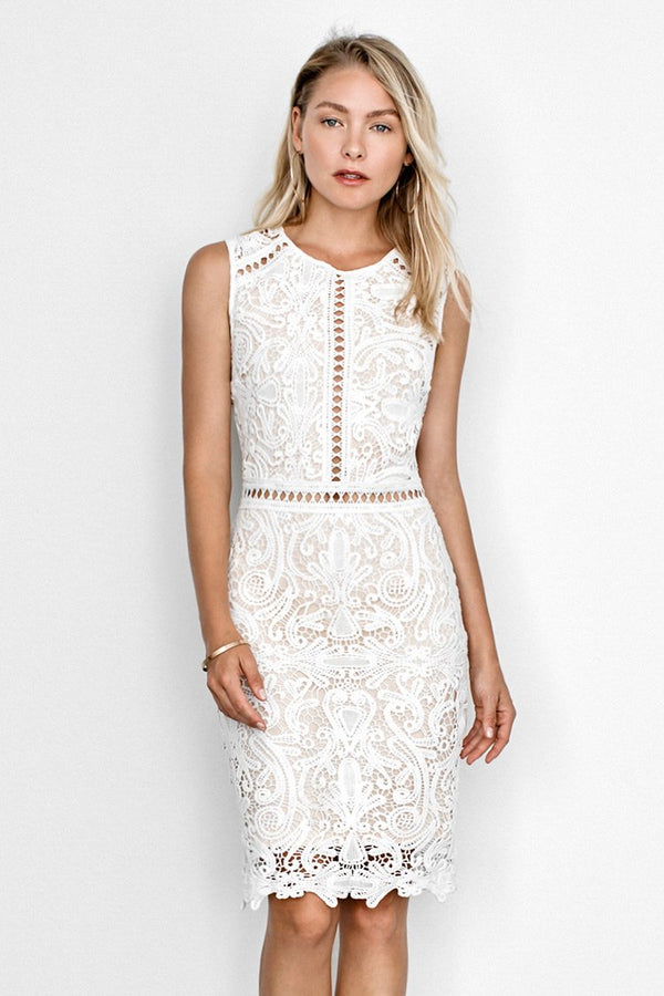 White Lace Sleeveless Midi Dress
