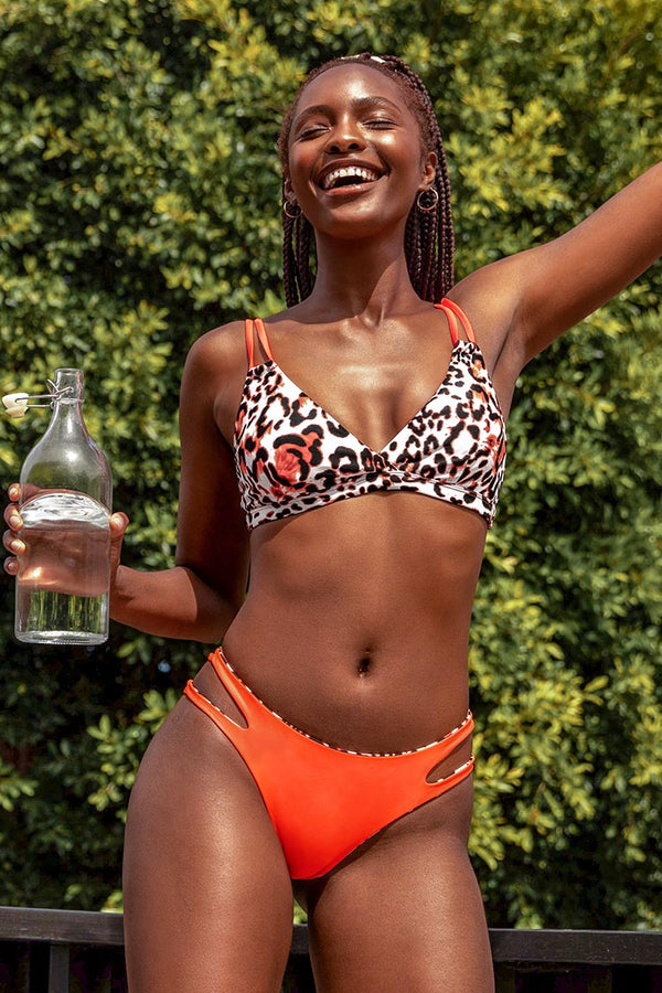 Orange Trim Leopard Print Strappy Bikini