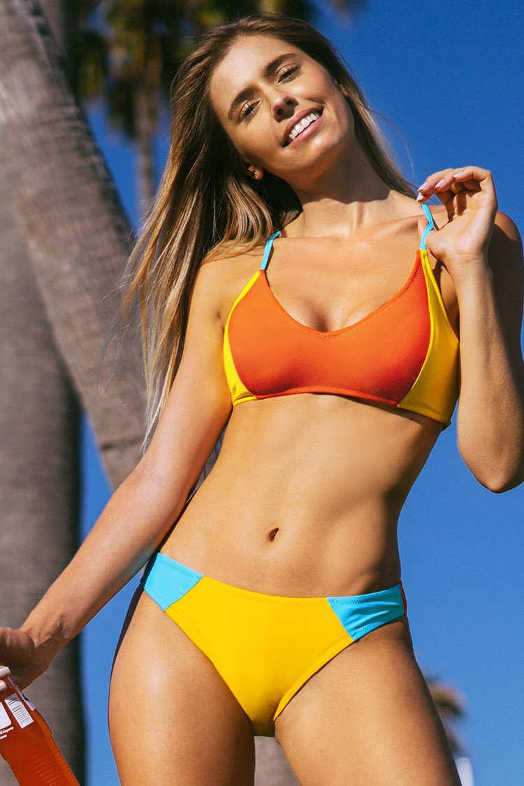Colorblocked Lace-Up Bikini