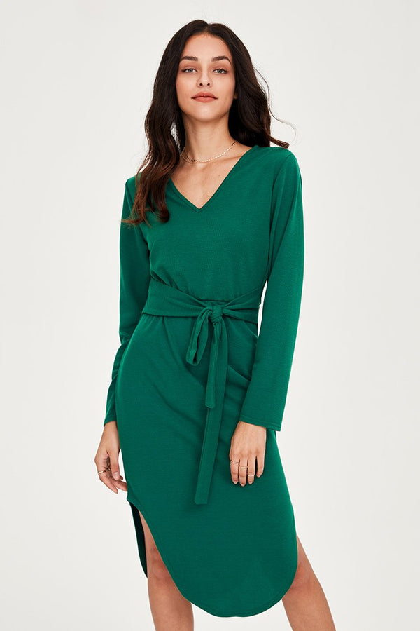 Green Belted V-Neck Dress