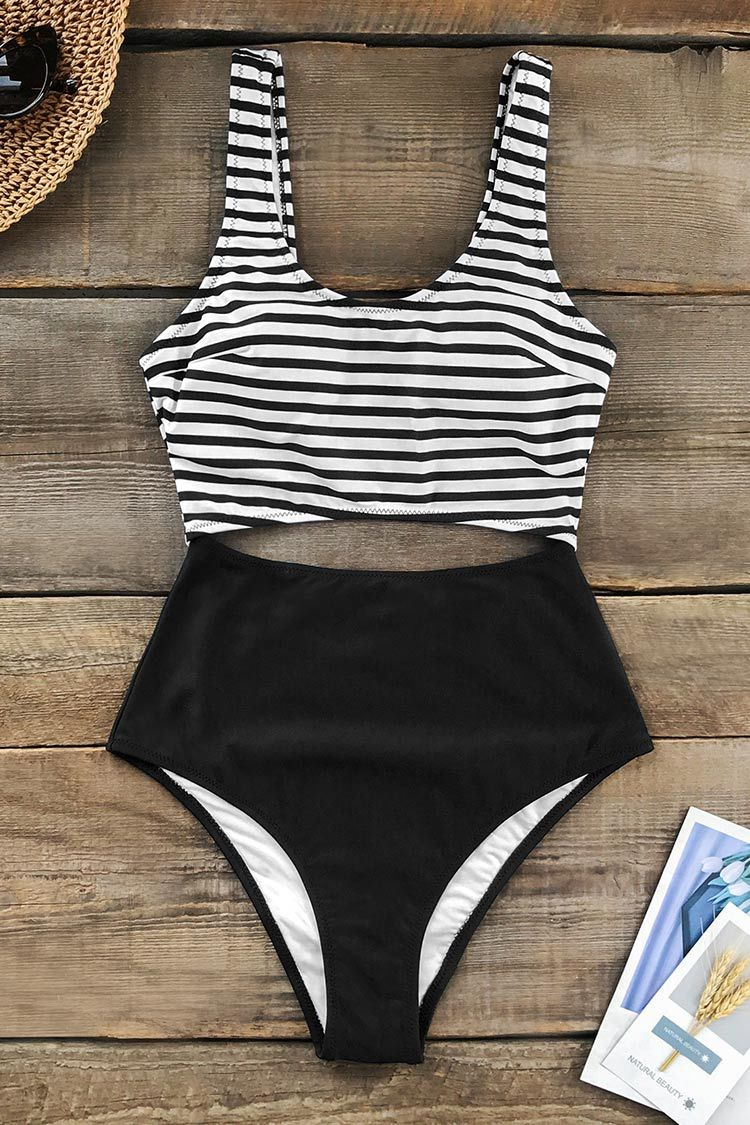 Black and White Cutout One-Piece Swimsuit