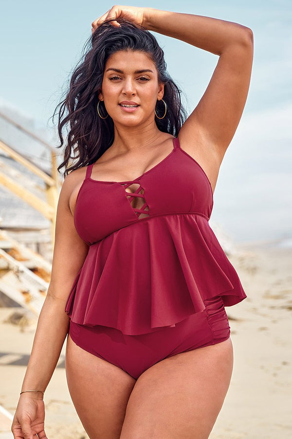Red Ruffled Plus Size Tankini