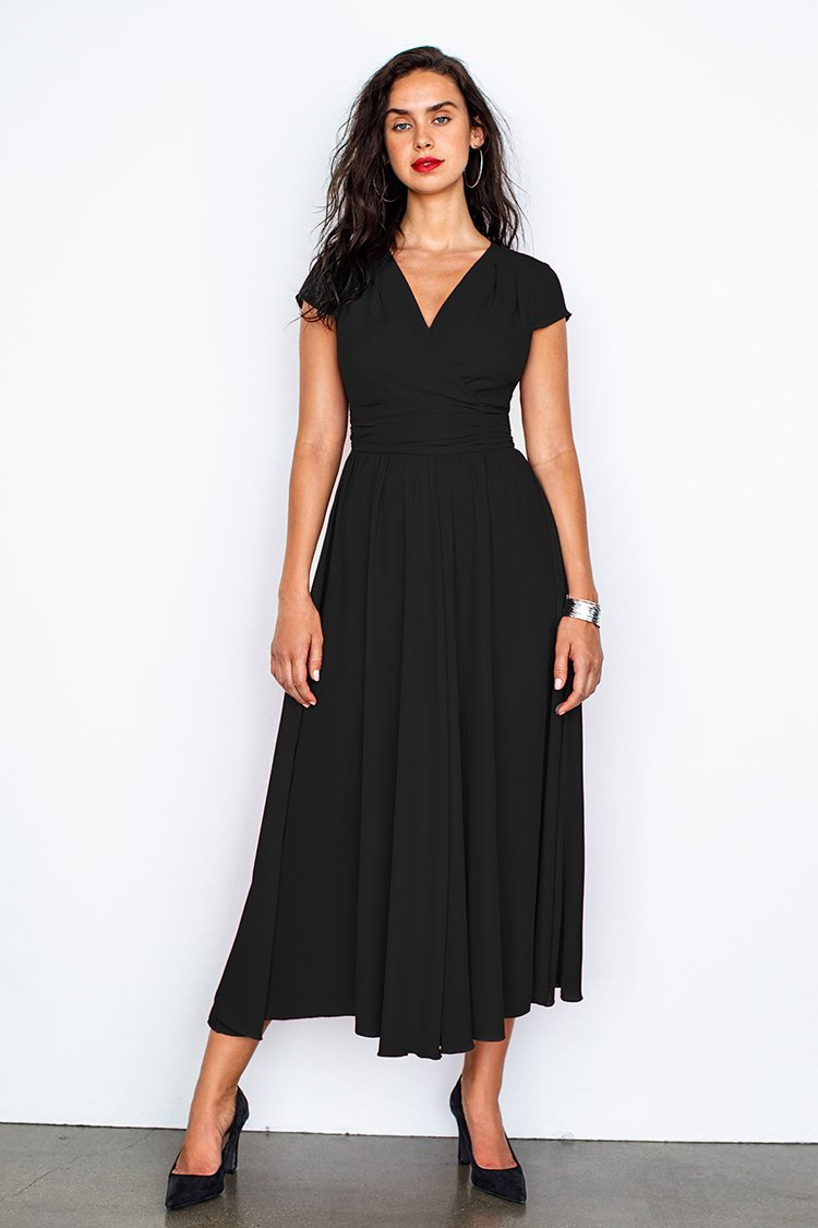 Black V-Neck Shirred Dress