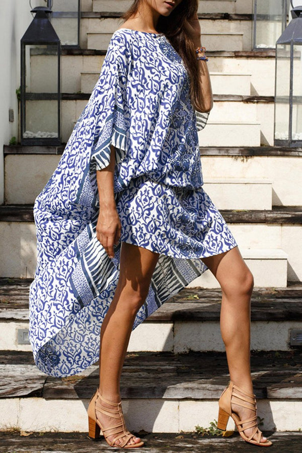 Blue and White Print Kaftan