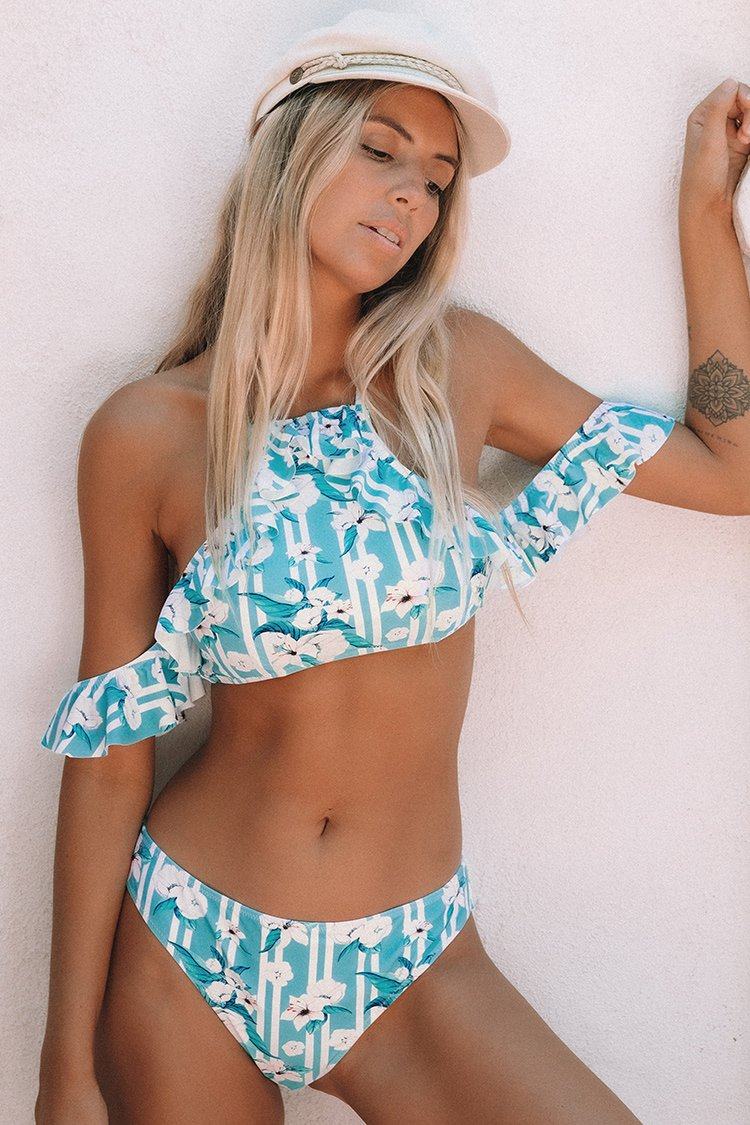 Blue and White Floral Stripe Cold Shoulder Bikini