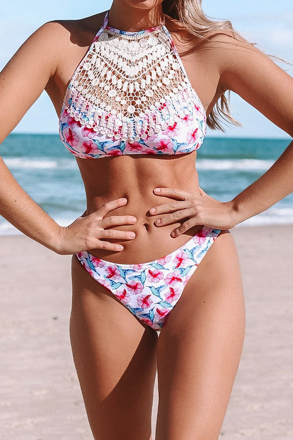 Pink Skies Crochet High Neck Bikini