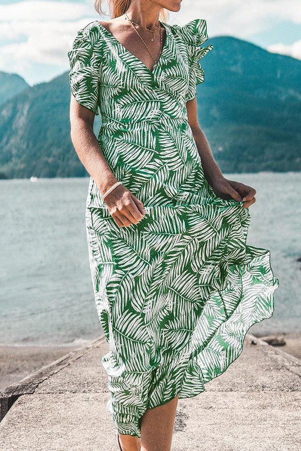 Green Palm Print Ruffled Wrap Midi Dress