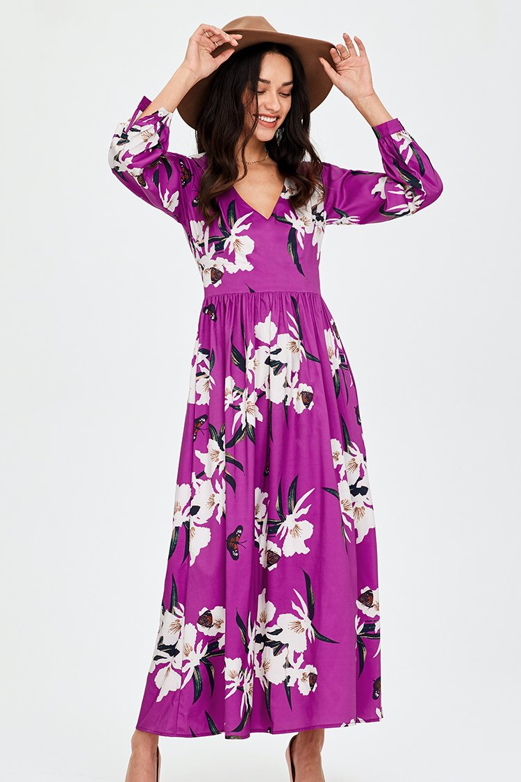 Pink Blossoms Floral V-neck Maxi-Dress