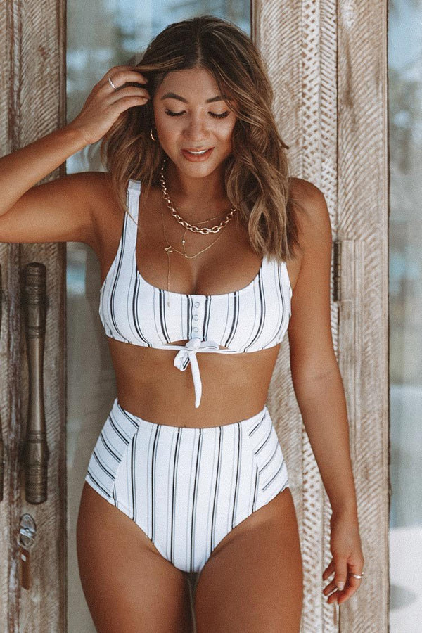 Navy and White Vertical Stripe High-Waist Bikini