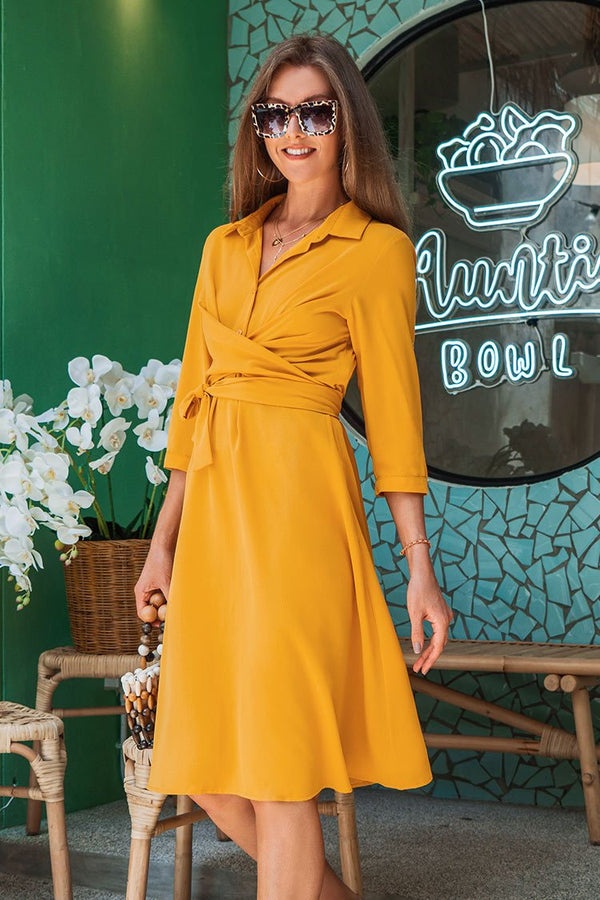 Yellow Shirring Midi Dress
