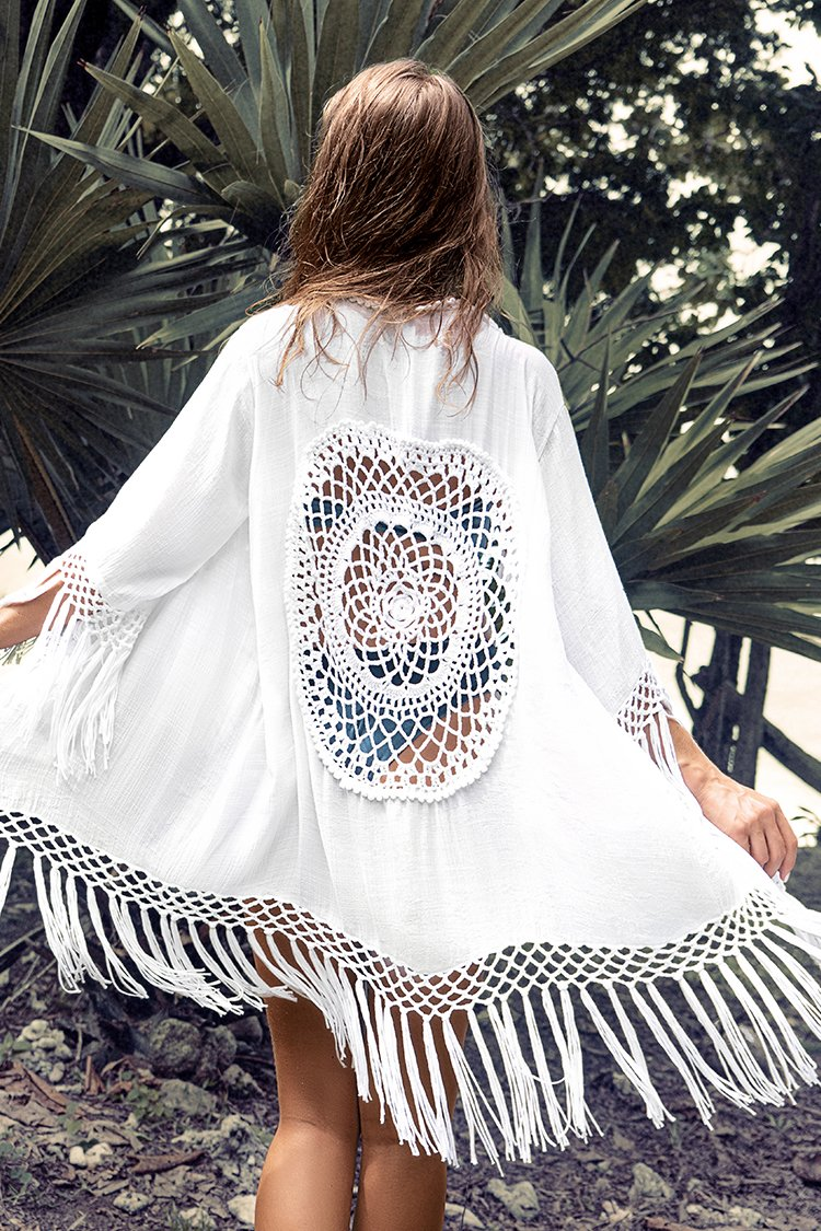 White Tassel Crochet Cover Up