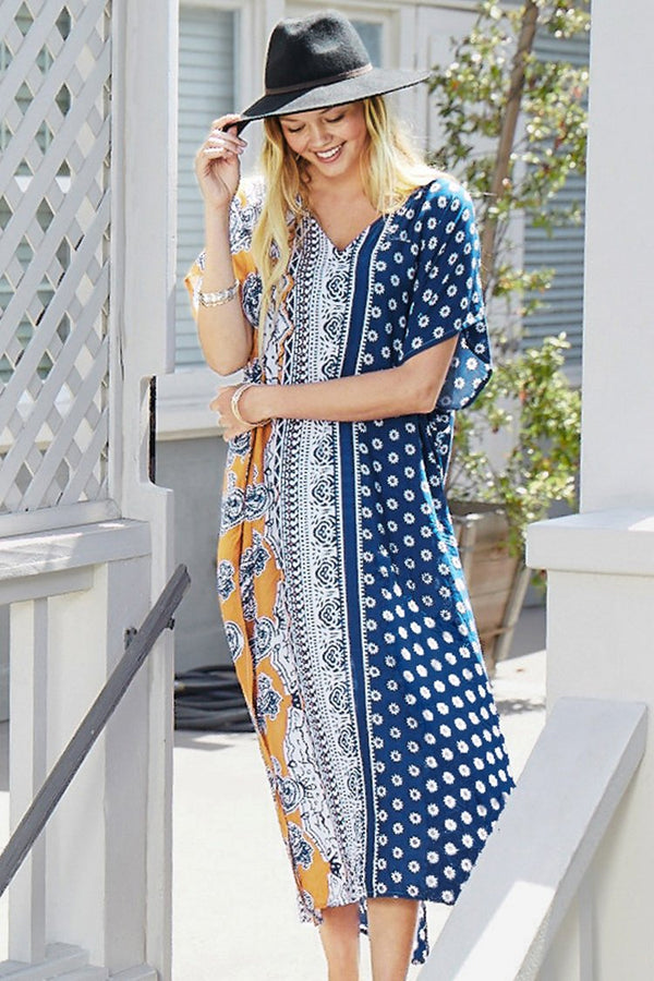 Boho Print Side Slit Dress