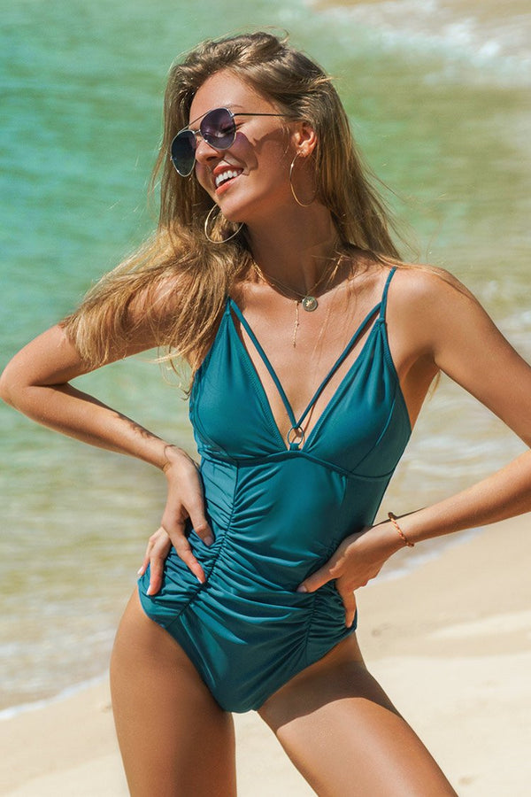 Strappy Teal One-Piece Swimsuit