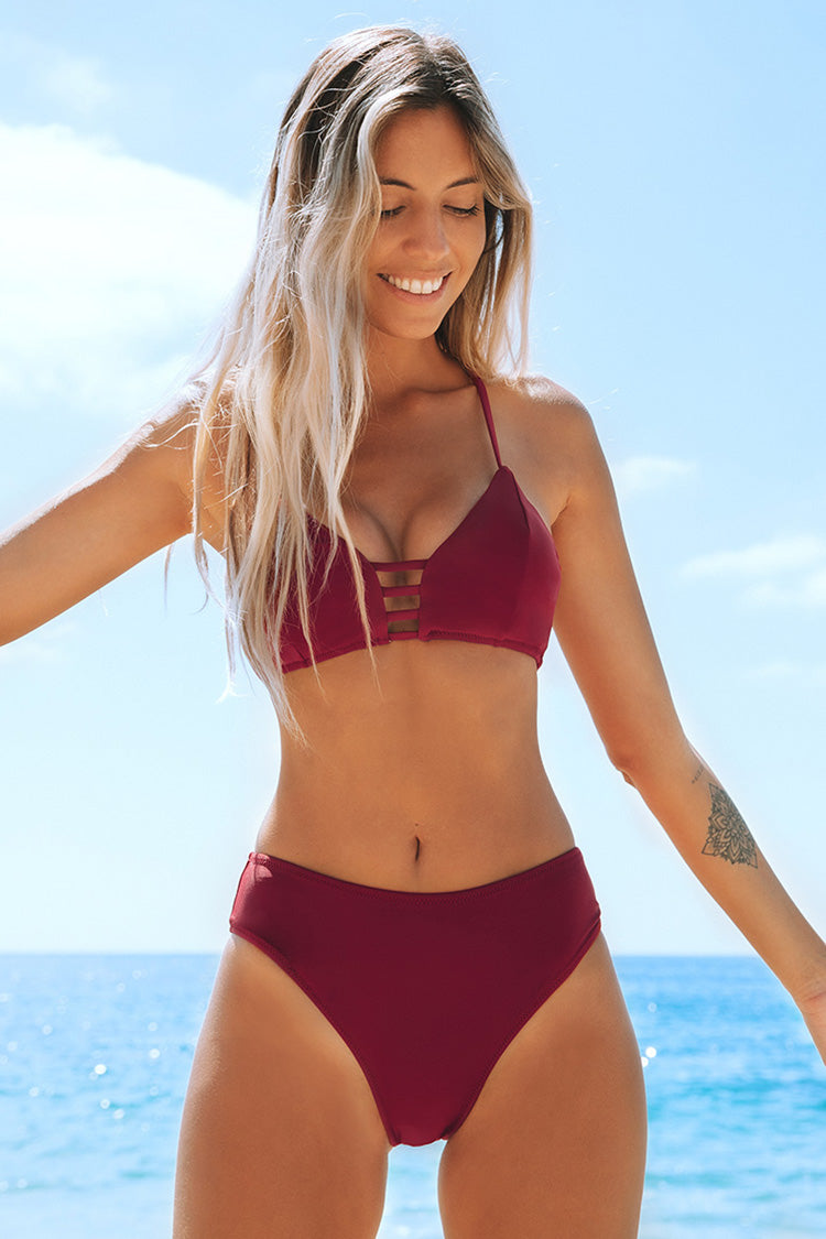 Wine Red Strappy Bikini