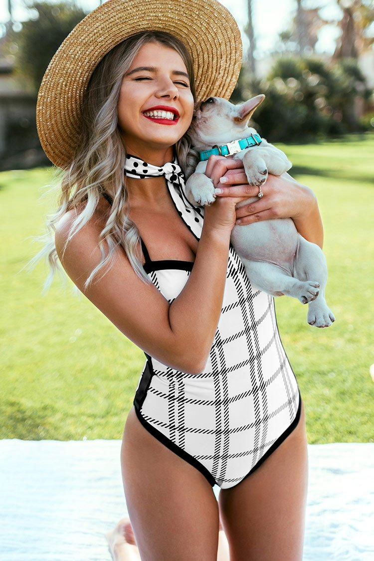 White and Black Plaid One-Piece Swimsuit