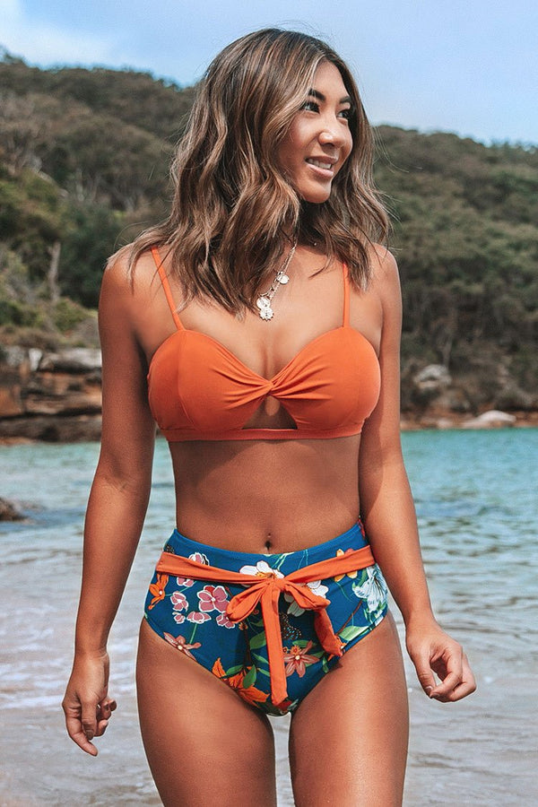 Orange and Floral Twist Bikini