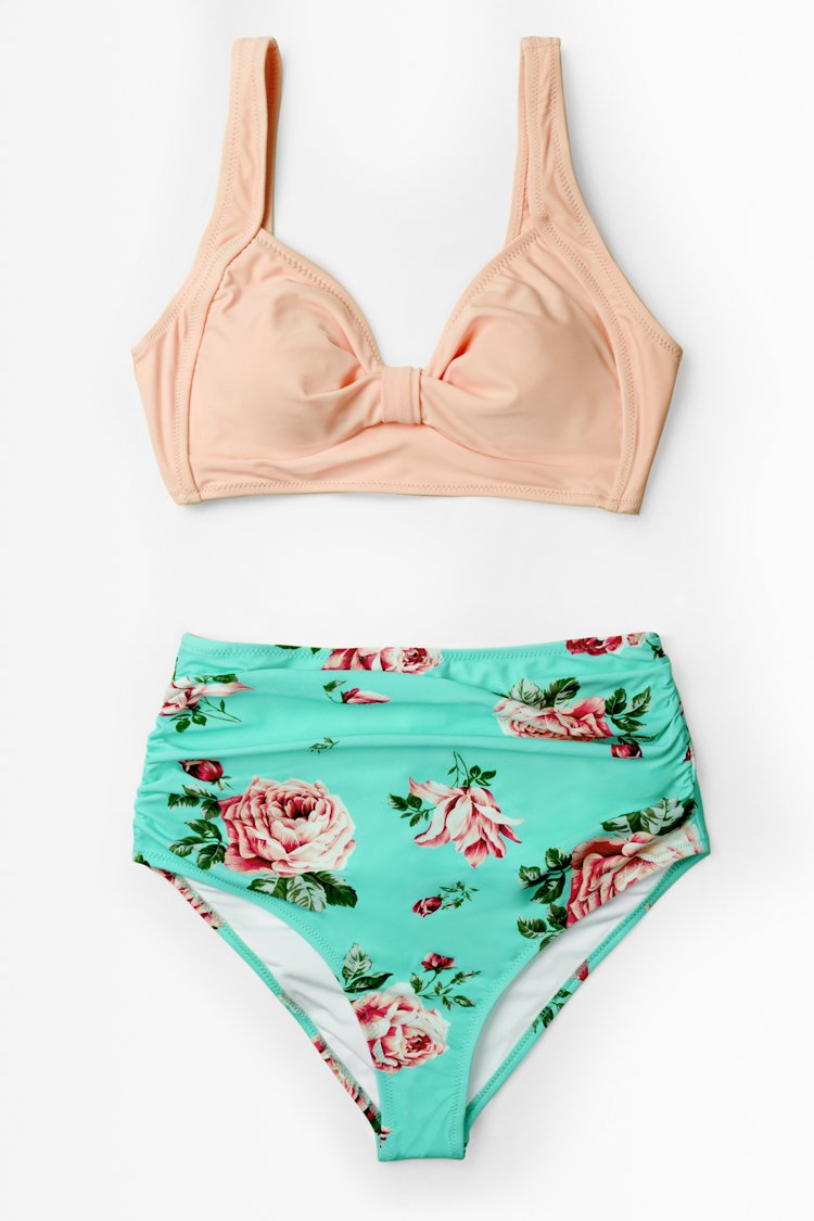 Peach and Light Blue Floral High-waisted Bikini