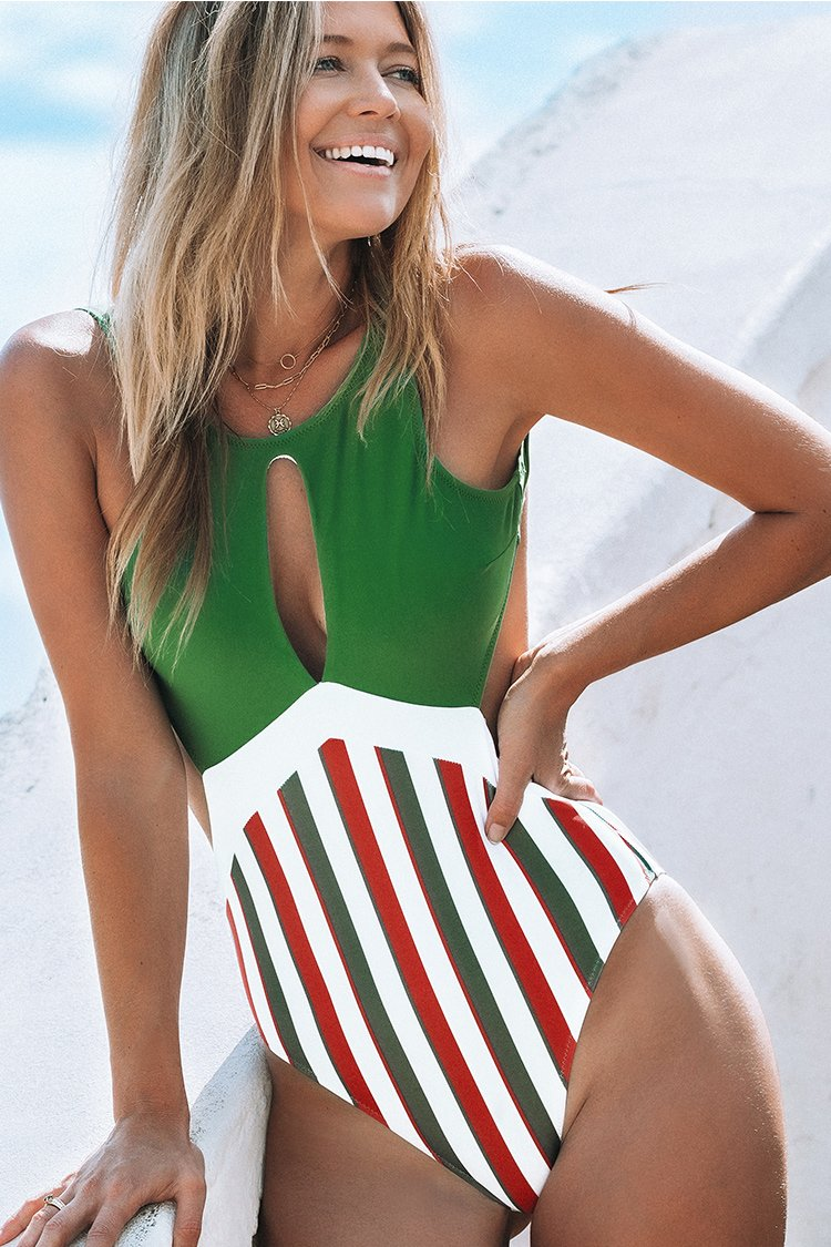 Green and Stripe Cutout One-Piece Swimsuit