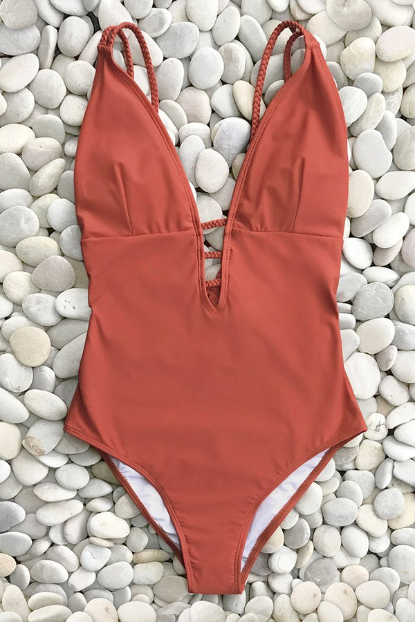 Vibrant Orange Braided Strap One-Piece Swimsuit