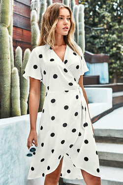 Short Sleeve Polka Dot Dress