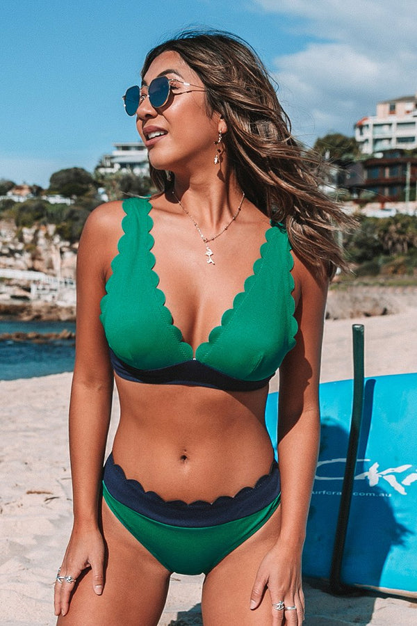 Green and Navy Scalloped Bikini