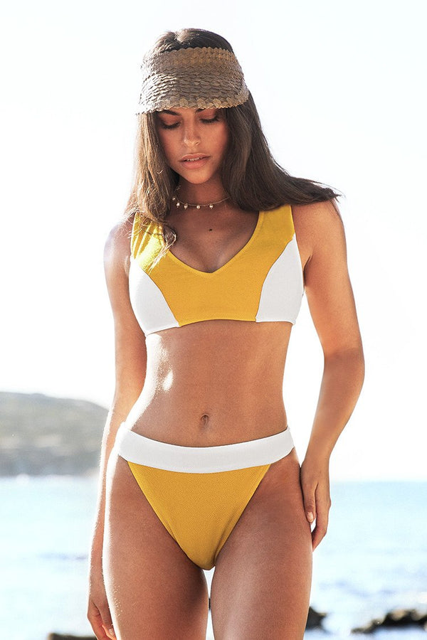 Yellow and White Colorblock Bikini