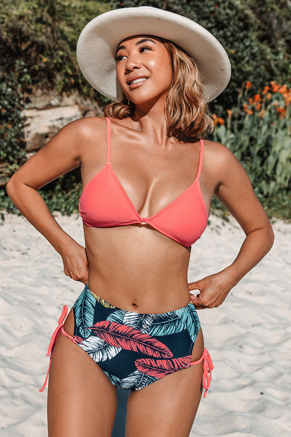 Pink And Leafy Triangle High Waisted Bikini