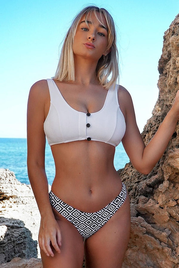 White and Geometric Print Bikini