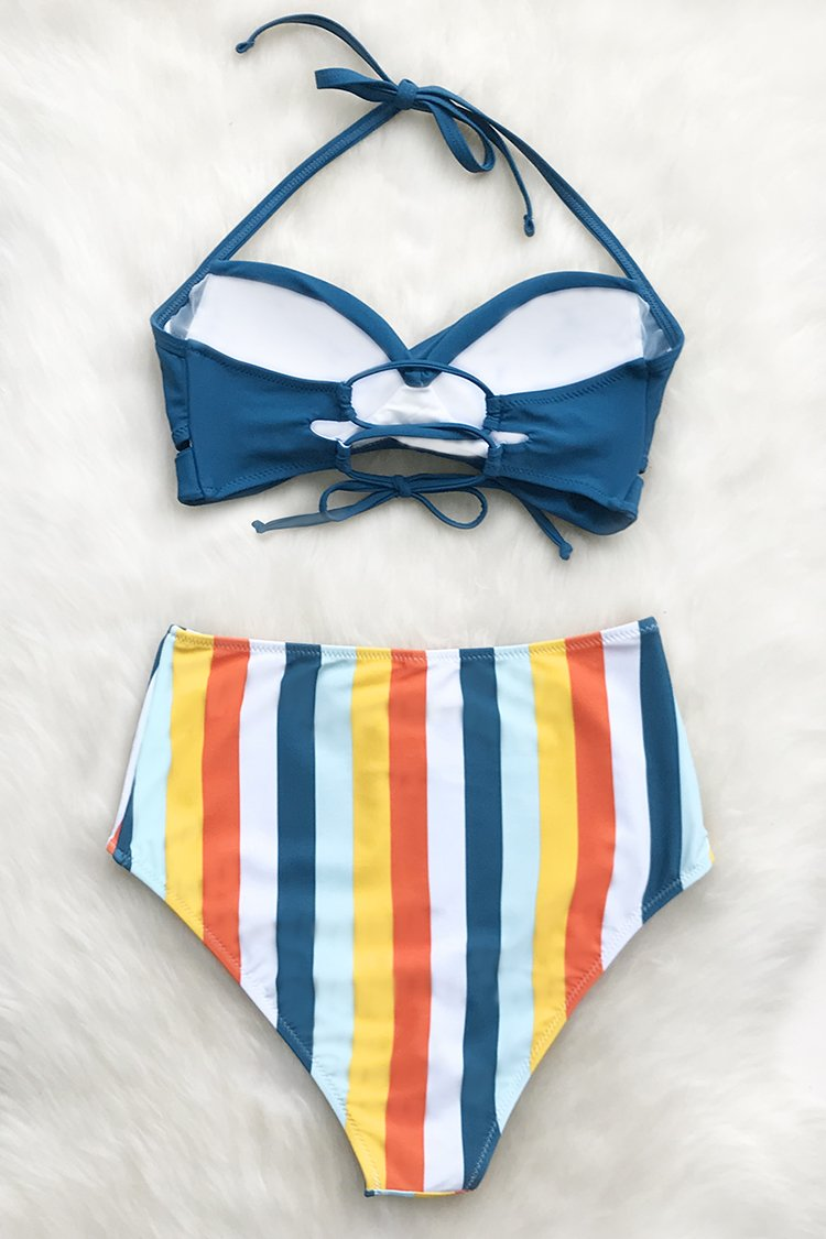 Solid Blue and Summer Stripe High-Waisted Bikini