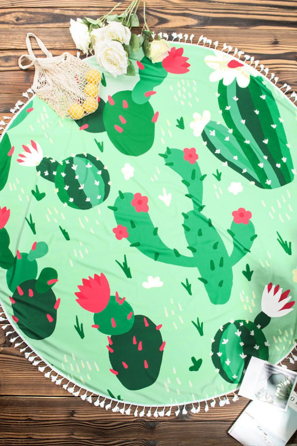 Cactus Print Beach Blanket with White Fringe
