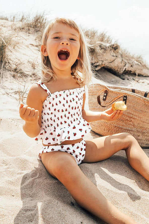 Cherry Smocked Bikini For Toddler Girls and Girls