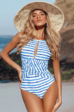 Blue Watercolor Stripe One-Piece Swimsuit