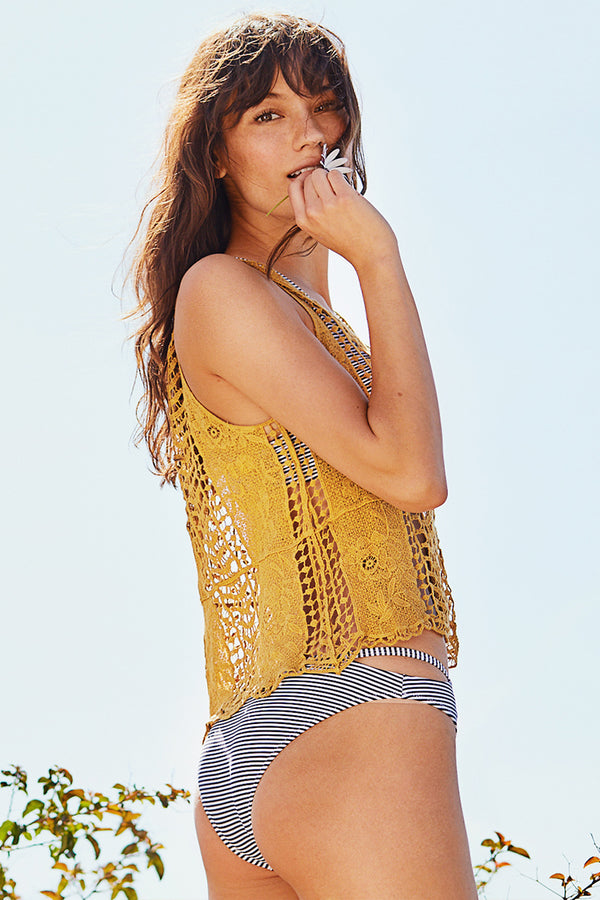 Mustard Yellow Lace Cover Up