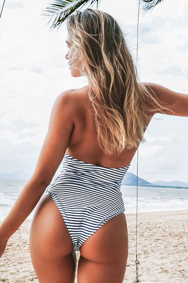 Blue and White Stripe Halter One Piece Swimsuit