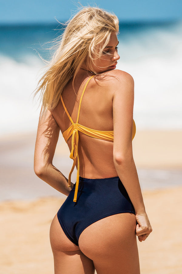 Yellow and Navy One-Piece Swimsuit