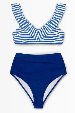 Blue Striped Bikini With Ruffle