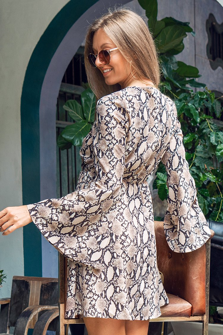 Snakeskin Long Sleeve Short Dress