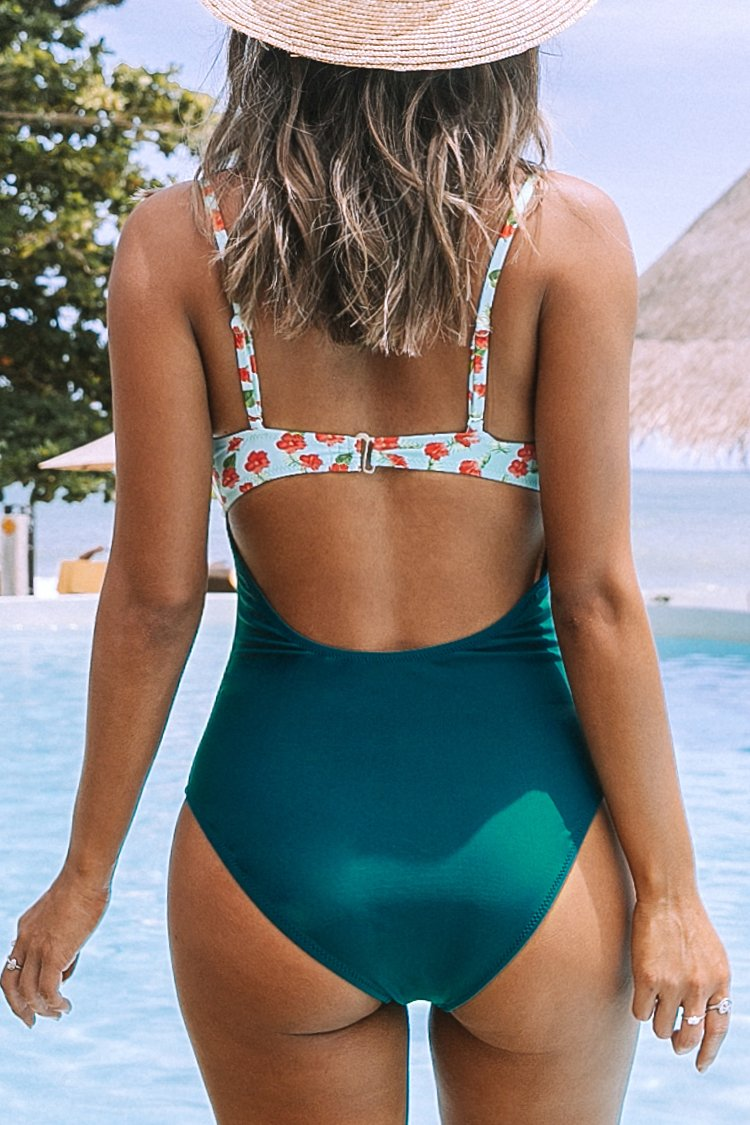Mini Hibiscus and Solid Blue One-Piece Swimsuit