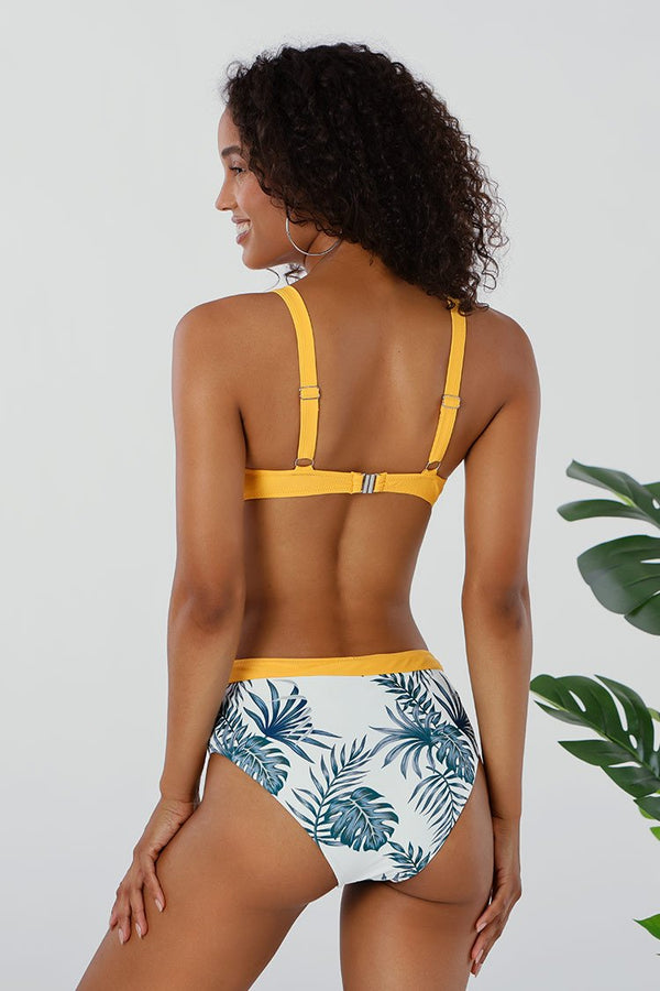 Leafy And Yellow Trim Square Ring Bikini