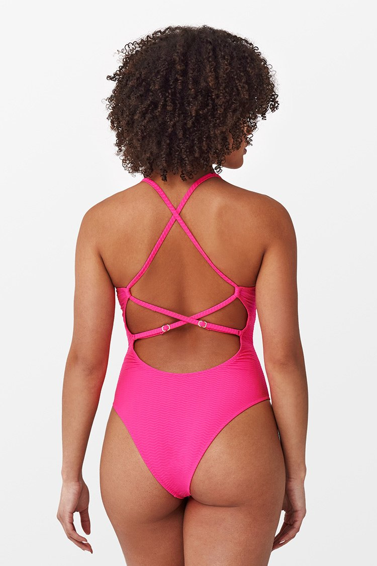Ribbed Scoop Back Criss-Cross One Piece Swimsuit