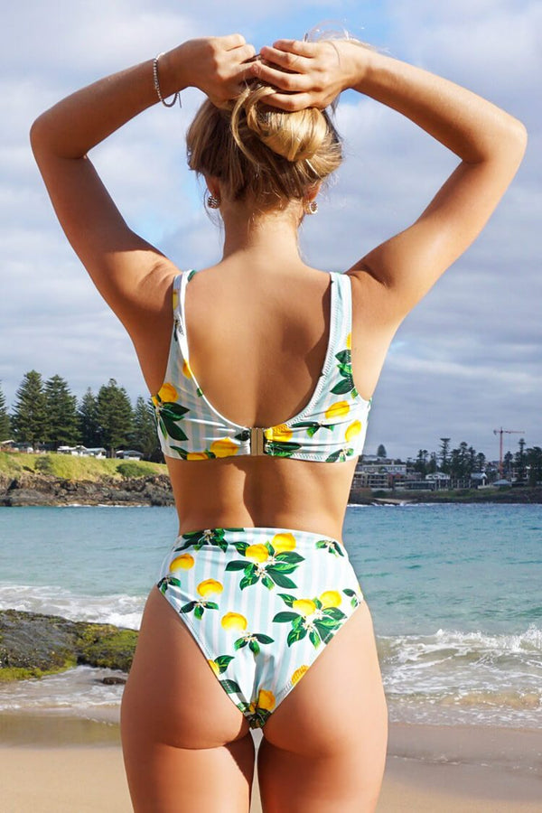Lemon Print Cutout High Waisted Bikini