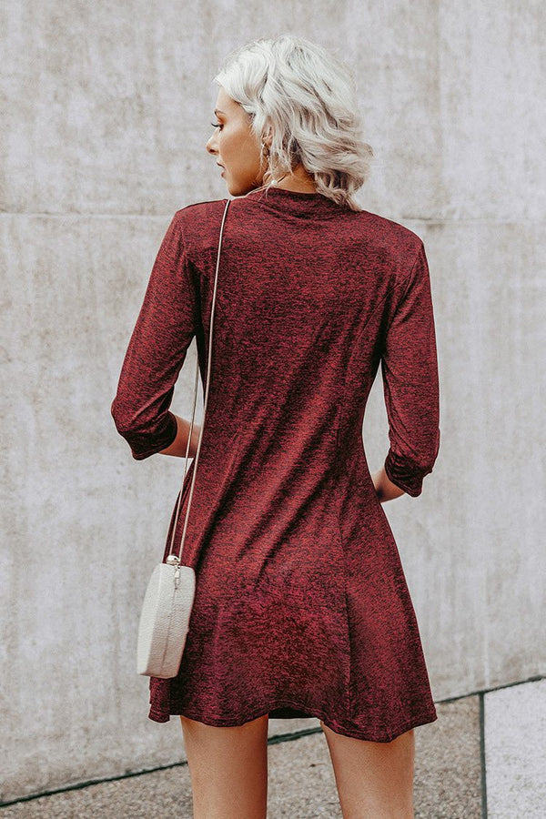 Red Zip Mock Neck Dress