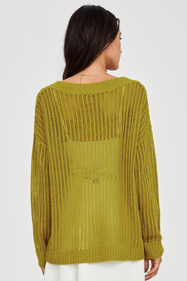 Green Knit V-neck Sweater
