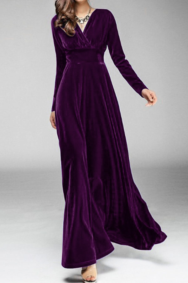 Velvet Long Sleeve Maxi Dress