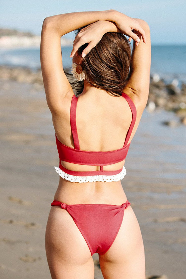 Red Ruffled Lace Cut Out Bikini