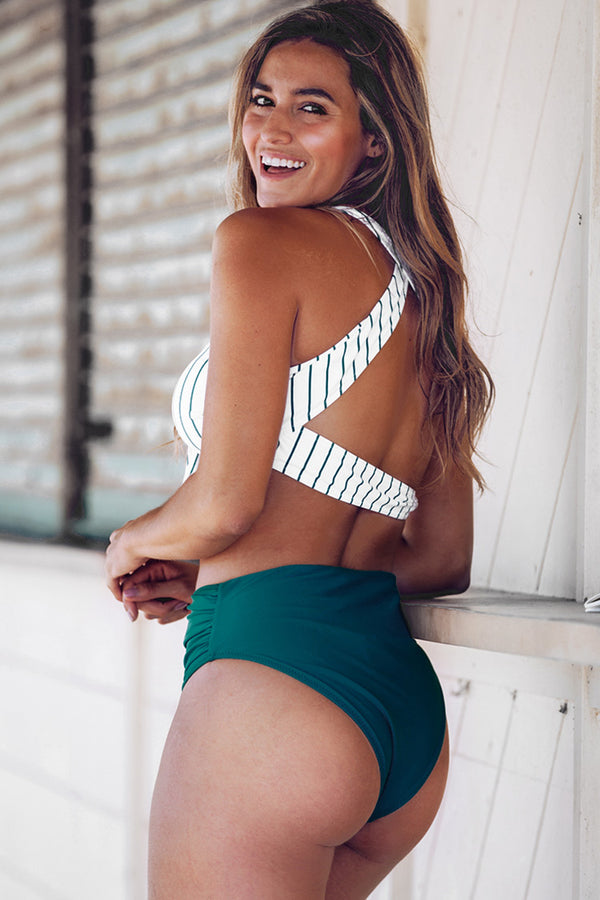Teal Solid and Striped High-Waisted Bikini