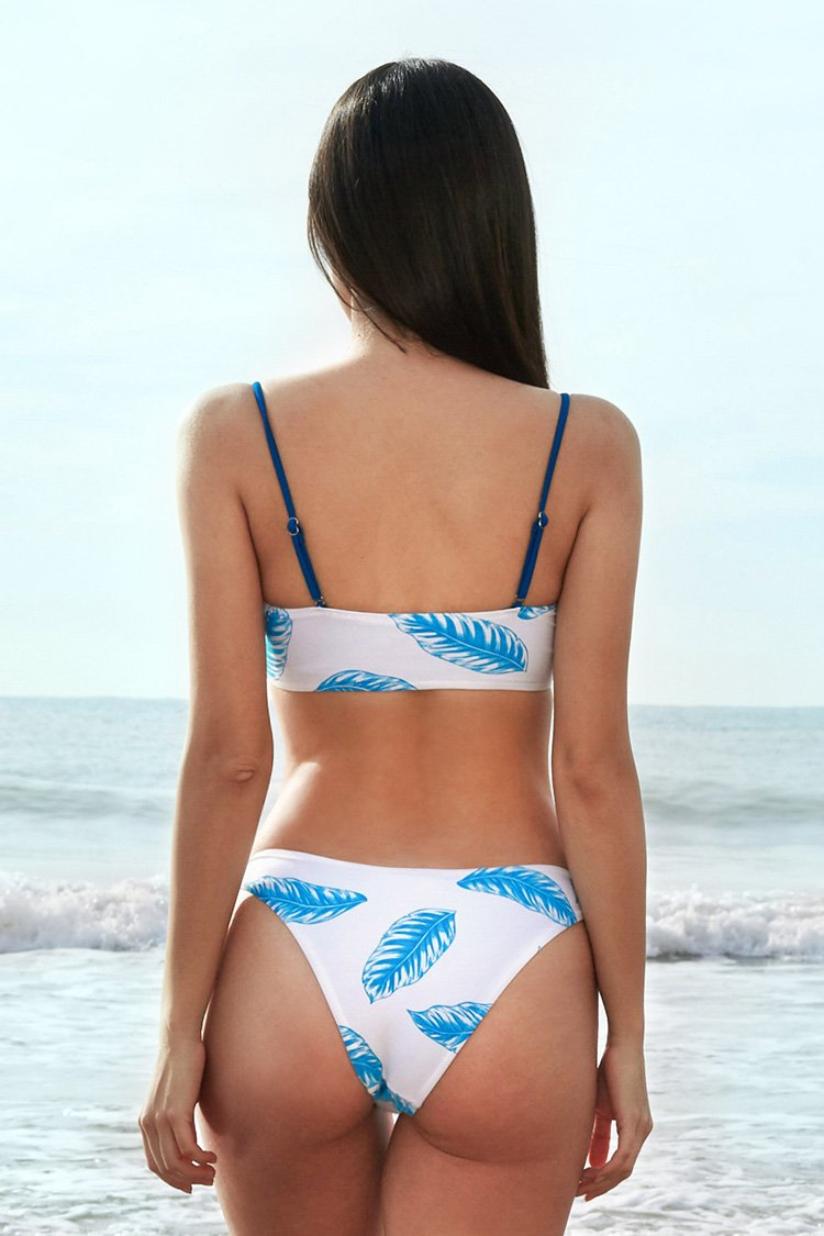 White and Blue Leafy Bandeau Bikini