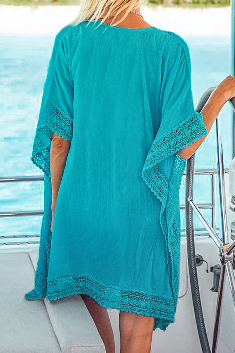 Blue Crochet Trim Cover Up
