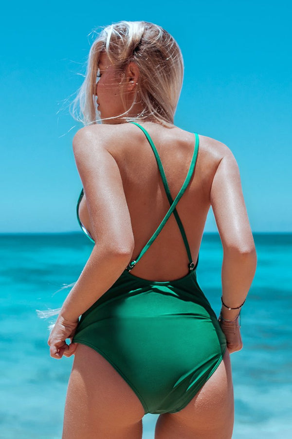 Green Plunging Neckline One-Piece Swimsuit