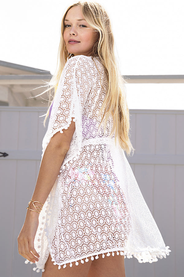 White Lace Pompom Cover Up